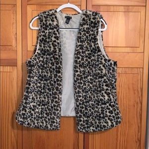 Faux fur leopard vest from New Directions